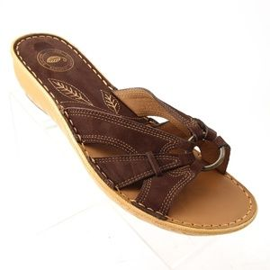 Nurture Womens Brown Leather Boho Slide Sandals